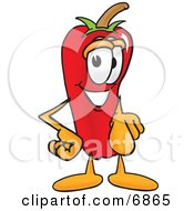 Clipart Picture Of A Chili Pepper Mascot Cartoon Character Pointing At The Viewer by Toons4Biz