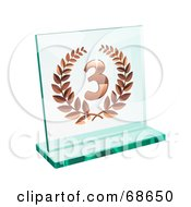 Royalty Free RF Clipart Illustration Of A Bronze Transparent Glass Third Place Laurel Trophy