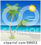 Royalty Free RF Clipart Illustration Of A Sun Shining Down On Tropical Palm Trees And A Beach