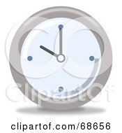 Royalty Free RF Clipart Illustration Of A Pale Blue And Gray Wall Clock At 10 by oboy