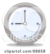 Royalty Free RF Clipart Illustration Of A Pale Blue And Gray Wall Clock At 9