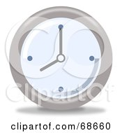Royalty Free RF Clipart Illustration Of A Pale Blue And Gray Wall Clock At 8 by oboy