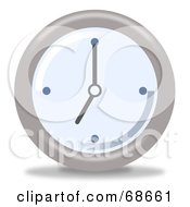 Royalty Free RF Clipart Illustration Of A Pale Blue And Gray Wall Clock At 7 by oboy