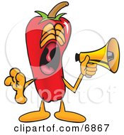 Chili Pepper Mascot Cartoon Character Screaming Into A Megaphone