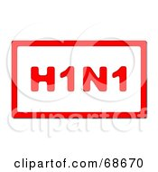 Red H1N1 With A Red Border On White Version 2