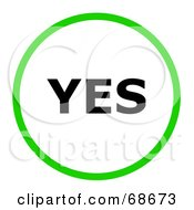 Royalty Free RF Clipart Illustration Of A Green Yes Circle by oboy