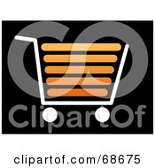 Royalty Free RF Clipart Illustration Of A White And Orange Shopping Cart On Black