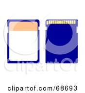 Royalty Free RF Clipart Illustration Of A Blue Memory Chip Version 2