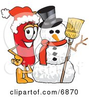 Clipart Picture Of A Chili Pepper Mascot Cartoon Character With A Snowman On Christmas by Toons4Biz
