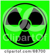 Royalty Free RF Clipart Illustration Of A Green And Black Radiation Symbol On Green