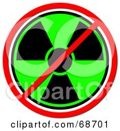 Royalty Free RF Clipart Illustration Of A Green And Black Radiation Prohibited Sign On White