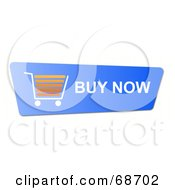 Royalty Free RF Clipart Illustration Of A Blue Buy Now Shopping Cart Button On White by oboy