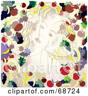 Pretty Young Woman Running Her Hands Through Her Hair Bordered With Fruits And Leaves