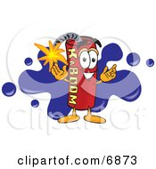 Clipart Picture Of A Red Dynamite Mascot Cartoon Character With A Blue Paint Splatter