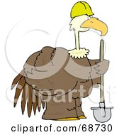 Royalty Free RF Clipart Illustration Of A Large Brown Construction Bird Holding A Shovel by djart