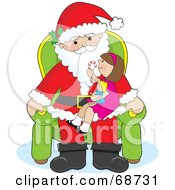 Royalty Free RF Clipart Illustration Of A Little Girl Holding A Candy Cane And Doll And Sitting On Santas Lap by Maria Bell