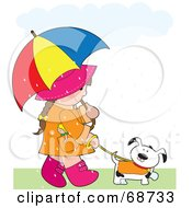Little Girl Carrying An Umbrella And Walking Her Dog In The Rain