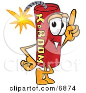 Clipart Picture Of A Red Dynamite Mascot Cartoon Character Pointing Upwards by Toons4Biz