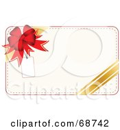 Royalty Free RF Clipart Illustration Of A White Christmas Present Background With A Bow And Gold Ribbon And A Blank Tag