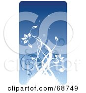 Blue Floral Background With Vines Version 7