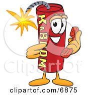 Clipart Picture Of A Red Dynamite Mascot Cartoon Character Holding A Telephone