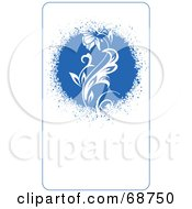 Blue Floral Background With Vines Version 6