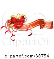 Royalty Free RF Clipart Illustration Of A Red And Gold Wavy Christmas Banner With A Bow And Curly Ribbons