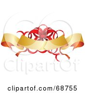 Royalty Free RF Clipart Illustration Of An Arching Gold Blank Ribbon With A Red Christmas Bow