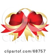 Royalty Free RF Clipart Illustration Of A Red Christmas Bow With Golden Ribbons