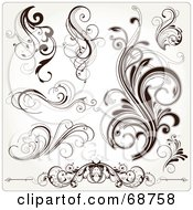 Royalty Free RF Clipart Illustration Of A Digital Collage Of Dark Brown Floral Scroll Design Elements