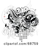 Royalty Free RF Clipart Illustration Of A Black And White Background Of A Woman With Long Hair And Red Lips With Flowers And Circles by OnFocusMedia