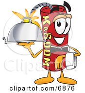 Clipart Picture Of A Red Dynamite Mascot Cartoon Character Holding A Serving Platter by Toons4Biz