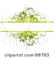Green Floral Text Bar Background With Blank Space On White