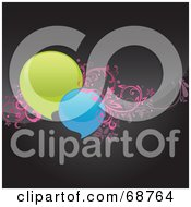 Royalty Free RF Clipart Illustration Of Round Green And Blue Chat Windows With Pink Vines On A Shiny Black Background