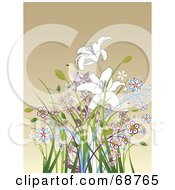 Brown Background With A Bird On Top Of Colorful Flowers