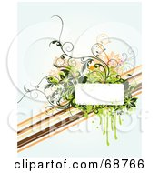 Royalty Free RF Clipart Illustration Of An Off White Floral Grunge Background With A Dripping Text Box And Diagonal Lines