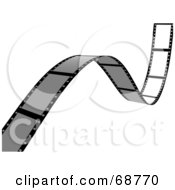 Royalty Free RF Clipart Illustration Of A Blank Film Strip Waving Over White