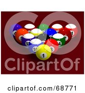 Royalty Free RF Clipart Illustration Of Racked And Centered 3d Billards Balls On Red