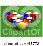Royalty Free RF Clipart Illustration Of Racked And Centered 3d Billards Balls On Green by ShazamImages