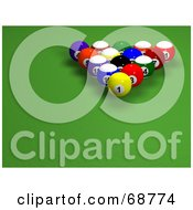 Royalty Free RF Clipart Illustration Of Racked 3d Billards Balls On Green
