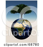 Royalty Free RF Clipart Illustration Of A 3d Cherry Tree Growing On Top Of An African Globe by ShazamImages