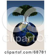 3d Cherry Tree Growing On Top Of An American Globe