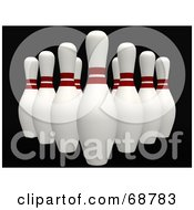 Royalty Free RF Clipart Illustration Of Organized 3d Bowling Pins On Black