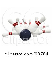 Royalty Free RF Clipart Illustration Of A Bowling Ball Crashing Hard Into 3d Bowling Pins On White by ShazamImages #COLLC68784-0133