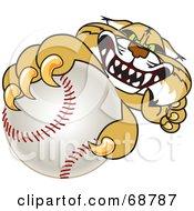 Bobcat Character Grabbing A Baseball