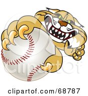 Royalty Free RF Clipart Illustration Of A Bobcat Character Grabbing A Baseball by Toons4Biz