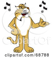 Royalty Free RF Clipart Illustration Of A Bobcat Character Singing by Toons4Biz