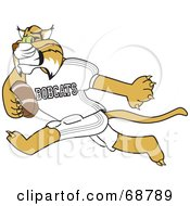 Royalty Free RF Clipart Illustration Of A Bobcat Character Running With A Football by Toons4Biz