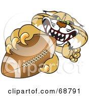 Bobcat Character Grabbing A Football