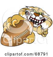 Royalty Free RF Clipart Illustration Of A Bobcat Character Grabbing A Football by Toons4Biz